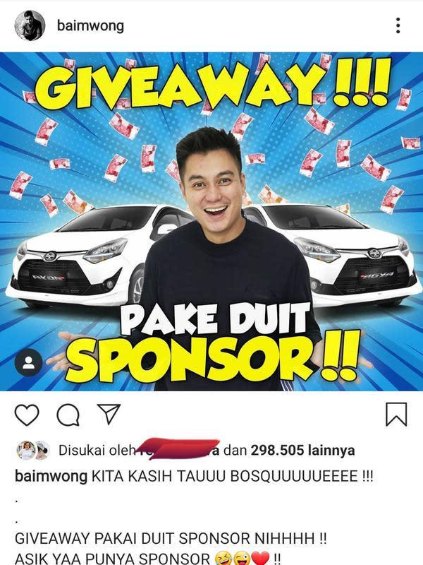 Unggahan Baim Wong. (Foto: Instagram @baimwong)