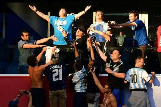 Maradona celebrated wildly after Argentina's winning goal against Nigeria