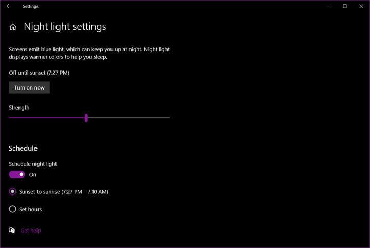 Windows 10 Night Light Strengh