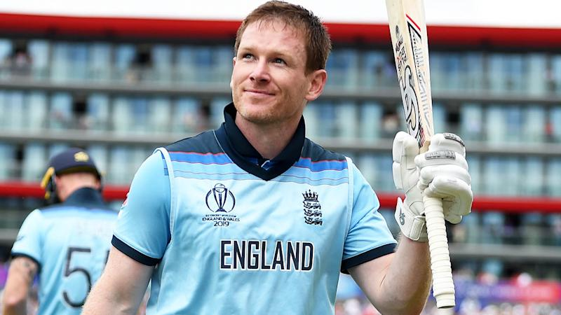 Eoin Morgan walks off after being dismissed for 148. (Photo by Gareth Copley-IDI/IDI via Getty Images)