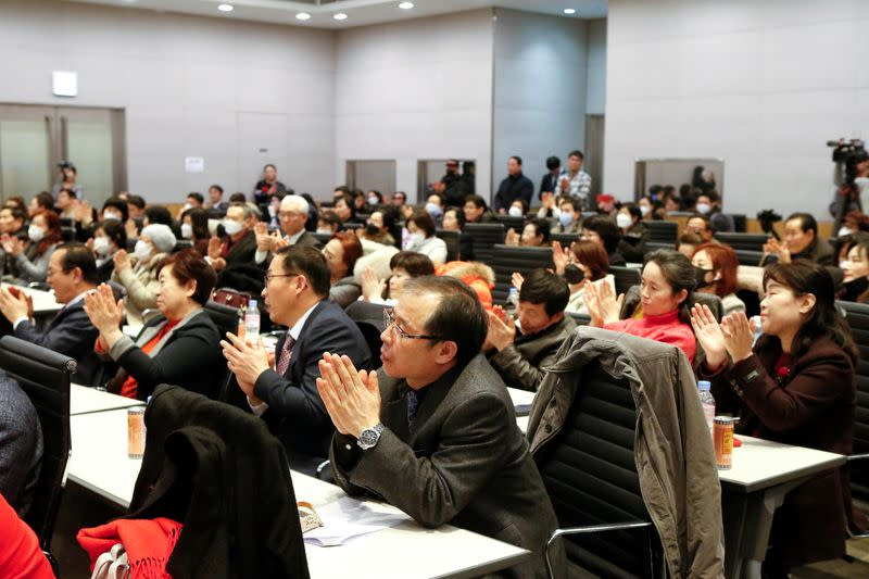 A group of North Korean defectors attend the launching ceremony of their political party South-North Unification Party in Seoul