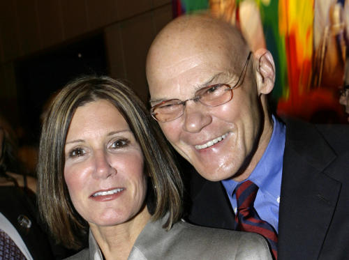 """FILE - This April 18, 2007 file photo shows married political strategists James Carville, right, and Mary Matalin at a party held by CNN celebrating Larry King's fifty years of broadcasting, in New York. Carville and Matalin have a deal with Blue Rider Press for a memoir with the working title """"You Can Go Home Again."""" Blue Rider, an imprint of Penguin Group (USA) said the book is scheduled for 2014. (AP Photo/Stuart Ramson, file)"""
