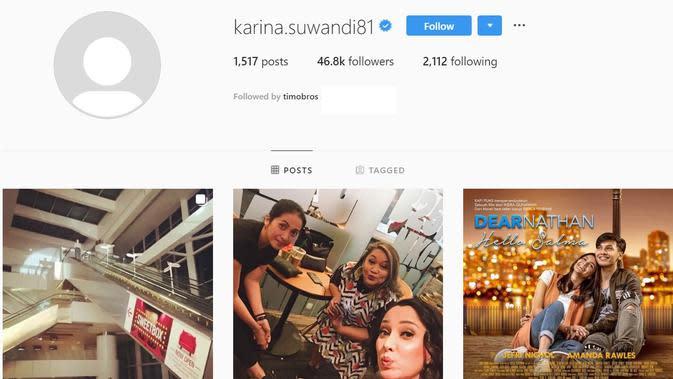 Tampilan akun Instagram Karina Suwandi (Instagram/ karina.suwandi81)