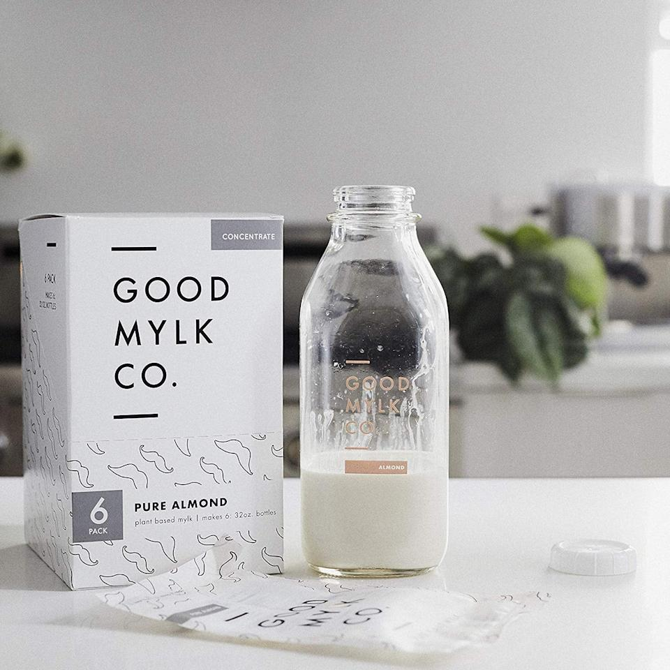 "<p>This is hands down my favorite almond milk. I used to only be able to get it in California, but now you can buy <a href=""https://www.popsugar.com/buy/Goodmylk-Co-Almond-Milk-Concentrate-475843?p_name=Goodmylk%20Co.%20Almond%20Milk%20Concentrate&retailer=amazon.com&pid=475843&price=67&evar1=fit%3Aus&evar9=46457717&evar98=https%3A%2F%2Fwww.popsugar.com%2Fphoto-gallery%2F46457717%2Fimage%2F46457719%2FGoodmylk-Co-Almond-Milk-Concentrate&list1=shopping%2Camazon%2Clattes%2Cmatcha&prop13=api&pdata=1"" rel=""nofollow"" data-shoppable-link=""1"" target=""_blank"" class=""ga-track"" data-ga-category=""Related"" data-ga-label=""https://www.amazon.com/Goodmylk-Co-Concentrate-Sustainable-Unsweetened/dp/B07QYXM5MQ/ref=sr_1_2?crid=L903NG74TZKL&amp;keywords=goodmylk%2Bco&amp;qid=1565041645&amp;s=gateway&amp;sprefix=good%2Bmylk%2Caps%2C269&amp;sr=8-2&amp;th=1"" data-ga-action=""In-Line Links"">Goodmylk Co. Almond Milk Concentrate</a> ($67 for 6) on Amazon! Simply add the concentrate to water, and you have fresh almond milk that can last for five days!</p>"