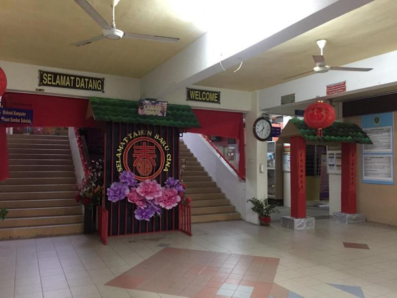 The principal of SMK Bandar Puchong 1 was said to have promised to take down all the Chinese New Year decoration at the school, following complaints from Muslim parents and a threat from Putra. — Picture via Twitter/BuzzeAzam