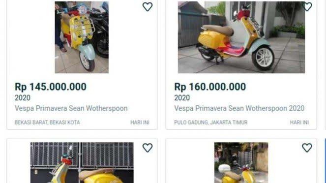Vespa Sean Wotherspoon dijual dengan harga tinggi.