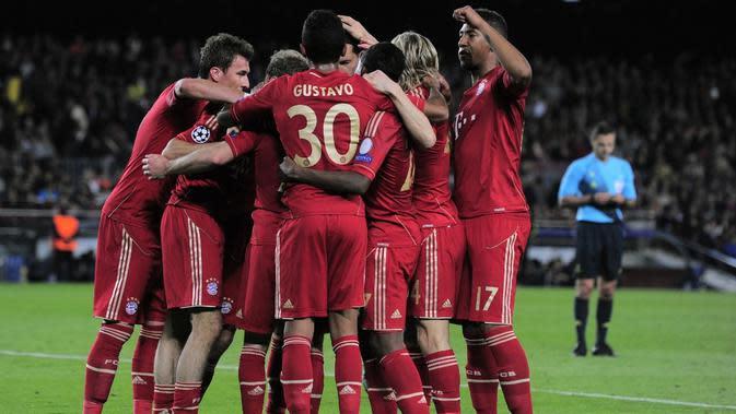Bayern Munchen berhasil mengalahkan Barcelona pada leg pertama semifinal Liga Champions 2012-2013 di Allianz Arena dengan skor 4-0 pada 23 April 2013. (AFP/Josep Lago)