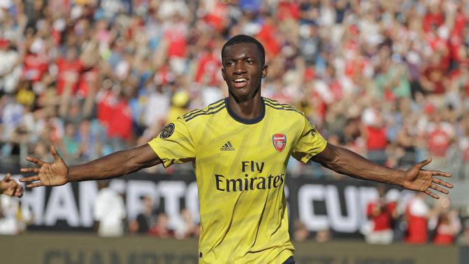 Striker muda Arsenal Eddie Nketiah merayakan gol ke gawang Fiorentina pada ICC 2019. (AP Photo/Chuck Burton)