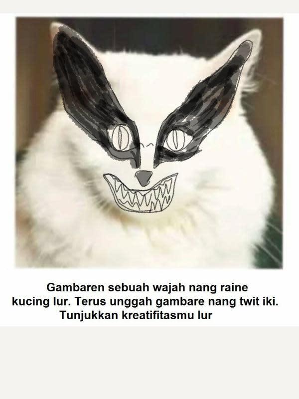 Gambar pada tubuh kucing (Sumber: Twitter/hendraeryanto)