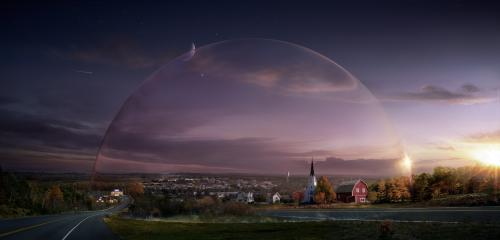 "This publicity image released by CBS shows a general view from the series ""Under the Dome,"" about a small town that is suddenly and inexplicably sealed off from the rest of the world by a massive transparent dome. The Nielsen company says an estimated 13.5 million people watched the debut last week. More than 3 million watched on their DVRs or through on-demand services, and CBS reran the premiere Sunday, which drew another 5.1 million viewers. A second episode that ran Monday was seen by 11.5 million people. (AP Photo/CBS Entertainment)"
