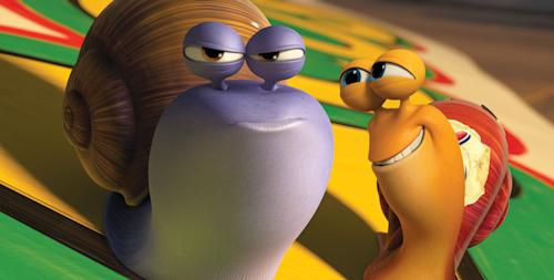 "This film publicity image released by DreamWorks Animation shows Chet, voiced by Paul Giamatti, left, and Turbo, voiced by Ryan Reynolds in a scene from the animated movie ""Turbo."" (AP Photo/DreamWorks Animation)"