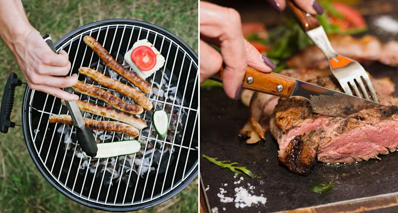 A man barbecues sausages and a woman cuts through steak with a knife and fork.