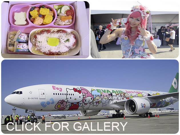 Hello Kitty jet's maiden flight to Los Angeles