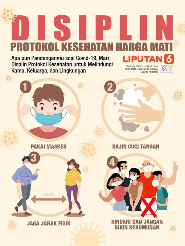 Infografis DISIPLIN Protokol Kesehatan Harga Mati (Liputan6.com/Abdillah)