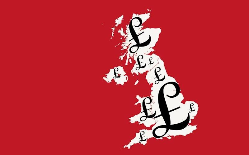 A map of Britain covered in pound signs