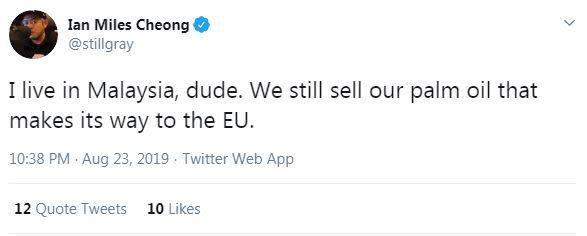Screenshot of Ian Miles Cheong's tweet saying he lives in Malaysia
