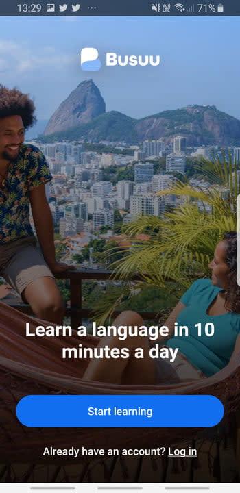 Busuu language learning app intro screen