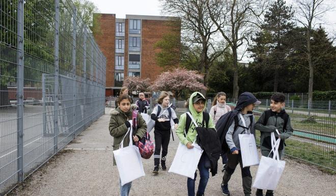 Pupils return to school in the Danish capital Copenhagen. Photo: AFP