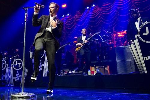 "FILE - In this May 5, 2013 file photo, Justin Timberlake performs at the MasterCard Priceless Premieres concert in New York. Timberlake, who has four nominations including best male R&B artist and best collaboration for ""Suit & Tie"" with Jay-Z, at the upcoming 2013 BET Awards, will also perform. The show airs live Sunday, June 30, 2013, from the Nokia Theatre L.A. Live, in Los Angeles. (Photo by Charles Sykes/Invision/AP, File)"