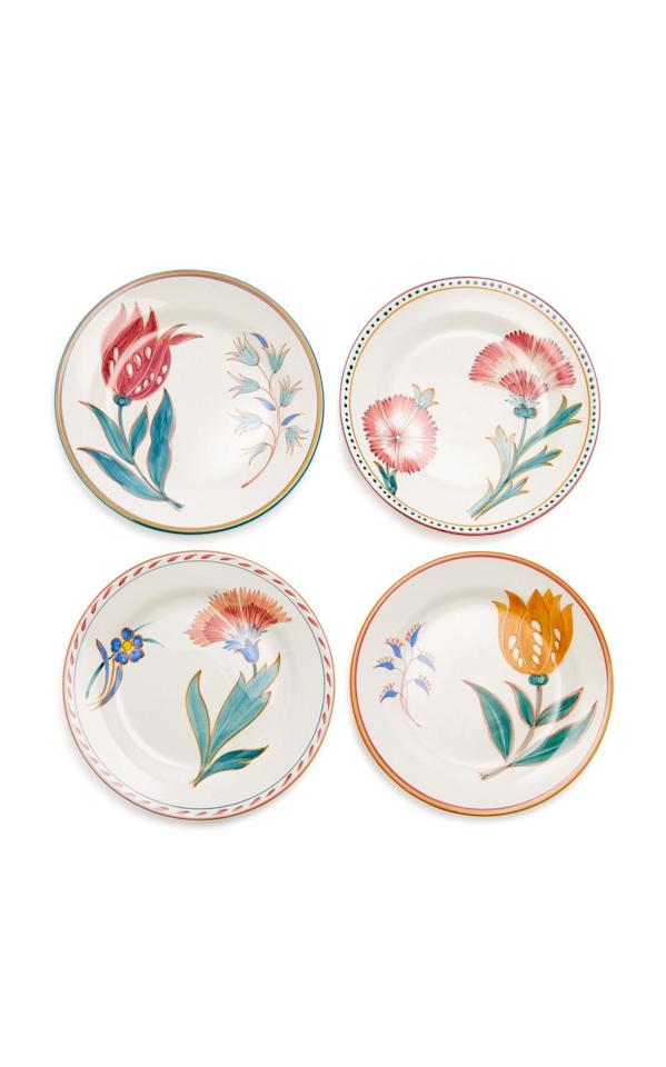 """<p><strong>Augarten Wien</strong></p><p>modaoperandi.com</p><p><strong>$370.00</strong></p><p><a href=""""https://go.redirectingat.com?id=74968X1596630&url=https%3A%2F%2Fwww.modaoperandi.com%2Faugarten-wien-gg18%2Fset-of-four-porcelain-dessert-plates&sref=https%3A%2F%2Fwww.harpersbazaar.com%2Fwedding%2Fplanning%2Fg33647953%2Ffourth-anniversary-gift-ideas%2F"""" target=""""_blank"""">SHOP NOW</a></p><p>Upgrade your dessert or salad plates with unique floral patterns (like these pictured here) that feel fresh—and mix in well with the settings <a href=""""https://www.harpersbazaar.com/wedding/planning/g33600442/where-to-register-for-wedding/"""" target=""""_blank"""">you registered for</a>. </p>"""