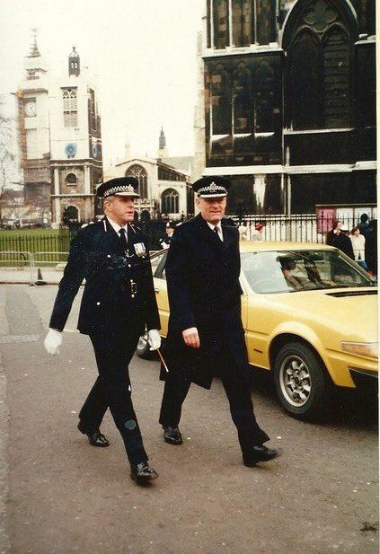 Maybanks, left, on his way into the memorial service for WPC Yvonne Fletcher, who was murdered outside the Libyan Embassy