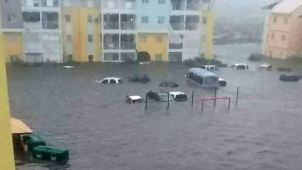 PHOTO: Cars sit on a flooded street on the island of Saint-Martin after Hurricane Irma passed through the Caribbean islands, Sept. 6, 2017. (Rinsy Xieng/RCI Guadeloupe)