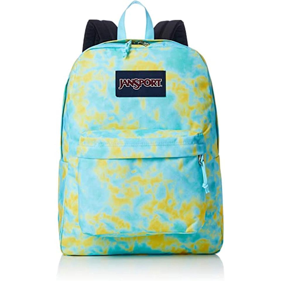"""<p>We love the tie-dye print on this sturdy and comfortable <product href=""""https://www.walmart.com/ip/JanSport-SuperBreak-Backpack-Baked-Pigments/209440620?selected=true"""" target=""""_blank"""" class=""""ga-track"""" data-ga-category=""""internal click"""" data-ga-label=""""https://www.walmart.com/ip/JanSport-SuperBreak-Backpack-Baked-Pigments/209440620?selected=true"""" data-ga-action=""""body text link"""">JanSport SuperBreak Backpack</product> ($36).</p>"""