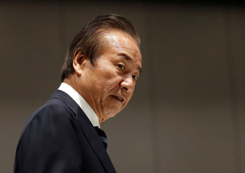 The Tokyo Organizing Committee of the Olympic and Paralympic Games Tokyo 2020 Executive Board member Haruyuki Takahashi arrives at a Tokyo 2020 Executive Board Meeting in Tokyo