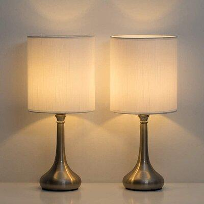 Canora Grey Woodstock 16 2 Silver Bedside Table Lamp Set Shade Linen Metal In White Size 7 1 L X 7 1 W X 16 2 H Wayfair Yahoo Shopping
