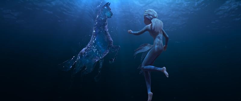 Elsa pictured with a mythical water spirit in Frozen 2 trailer