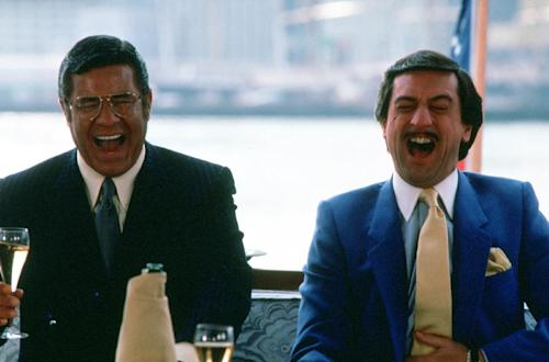 "This photo provided by 20th Century Fox, shows Jerry Lewis, left, and Robert De Niro in a scene from the movie ""The King of Comedy."" The Tribeca Film Festival will close with a 30th anniversary restoration of Martin Scorsese's ""The King of Comedy."" This year's festival will thus bow out on April 27 with a classic from one of its founders: Robert De Niro. In the 1983 dark comedy, he stars as the aspiring comedian Rupert Pupkin, whose obsessive celebrity hounding leads to kidnapping. Tribeca co-founder Jane Rosenthal said it had always been a goal of Scorsese's to use the festival to showcase restored and rediscovered films. The 12th annual Tribeca Film Festival opens April 17.(AP Photo/20th Century Fox)"