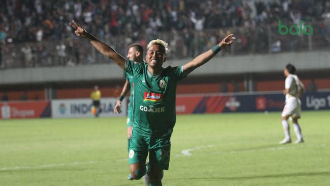 Ekspresi pemain PSS Slema, Kushedya Hari Yudo. (Bola.com/Vincentius Atmaja)