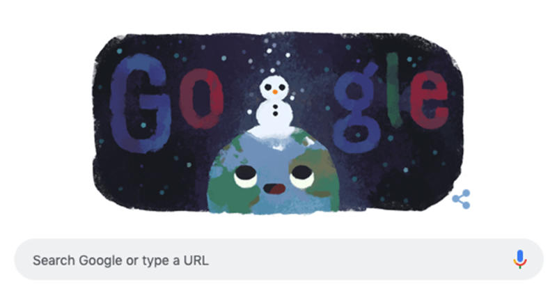 Winter solstice 2019: Google has marked the shortest day of the year with a Google Doodle of the Earth with a snowman.
