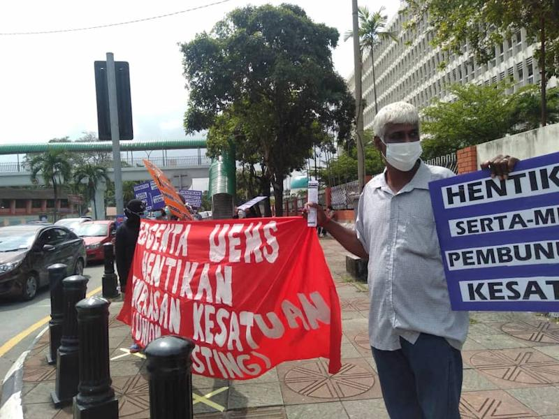 The picketeers had followed the SOPs for the movement control order (MCO). — Picture courtesy of Parti Sosialis Malaysia