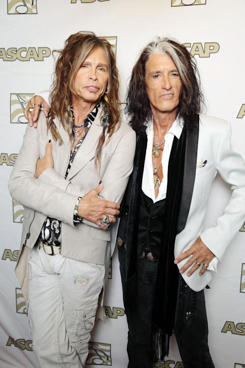FILE - In this April 8, 2013 photo, Steven Tyler, left, and Joe Perry, recipients of the ASCAP Founders Award, pose at the ASCAP Press Conference held at the Sunset Marquis, in Los Angeles. Tyler and Perry will be honored with the award during ASCAP's 30th annual Pop Music Awards at a gala on April 17, 2013, in Los Angeles. (Photo by Eric Charbonneau/Invision/AP, File)