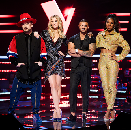 The glitzy dress Delta Goodrem wore during The Voice blind auditions was a structured sequinned dress from Balmain which has been sold online for $AU 6,898