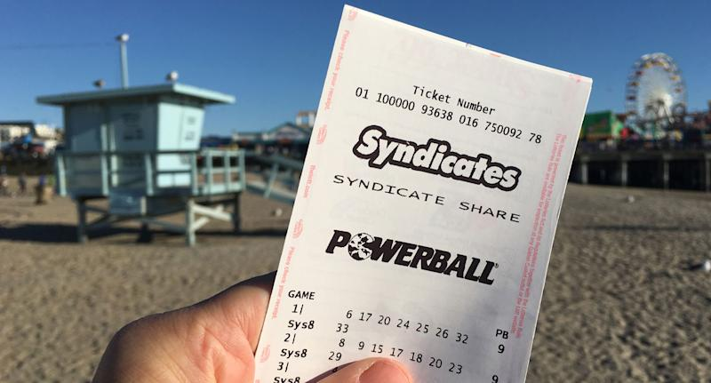 A Powerball ticket is shown here. Thursday's $40 million lotto draw is about to get underway.