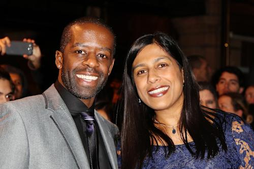 Adrian Lester and Lolita Chakrabarti seen at the Whatsonstage.com Theatregoers' Choice Awards at The Palace Theatre on Sunday, Feb. 17, 2013, in London. (Photo by Miles Willis/Invision/AP)