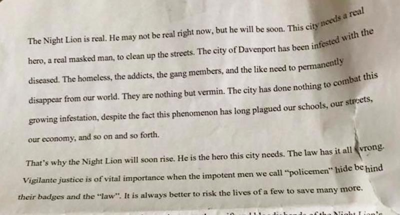 Iowa Davenport US police investigate vigilante letter warning to kill diseased, homeless, addicts.
