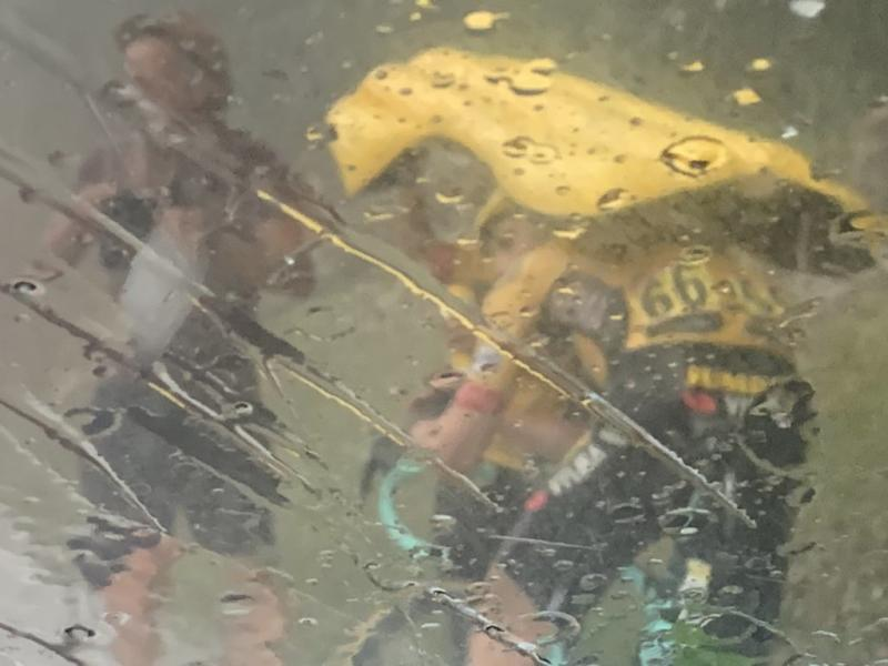A hail storm hit the riders and crowds at the end of stage 2 of the Criterium du Dauphine