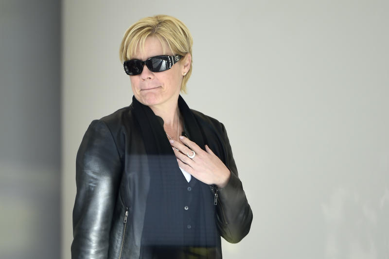 Jen Ross-King, mother of Alex Ross-King who died at FOMO music festival in January 2019, arrives at The Coroner's Court of New South Wales on Monday.