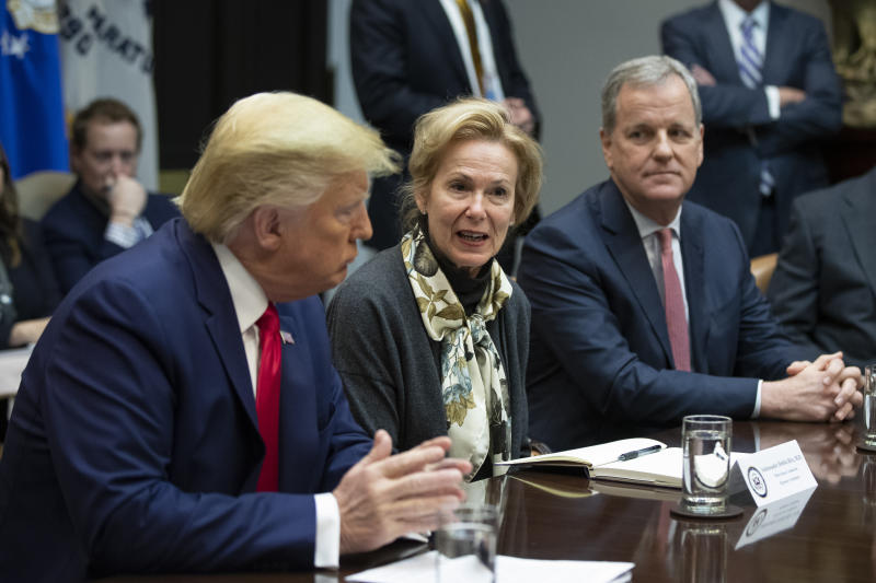 White House coronavirus response coordinator Dr. Deborah Birx, flanked by President Donald Trump and American Airlines CEO Doug Parker, right, speaks during a coronavirus briefing with Airline CEOs in the Roosevelt Room of the White House, Wednesday, March 4, 2020, in Washington. (AP Photo/Manuel Balce Ceneta)