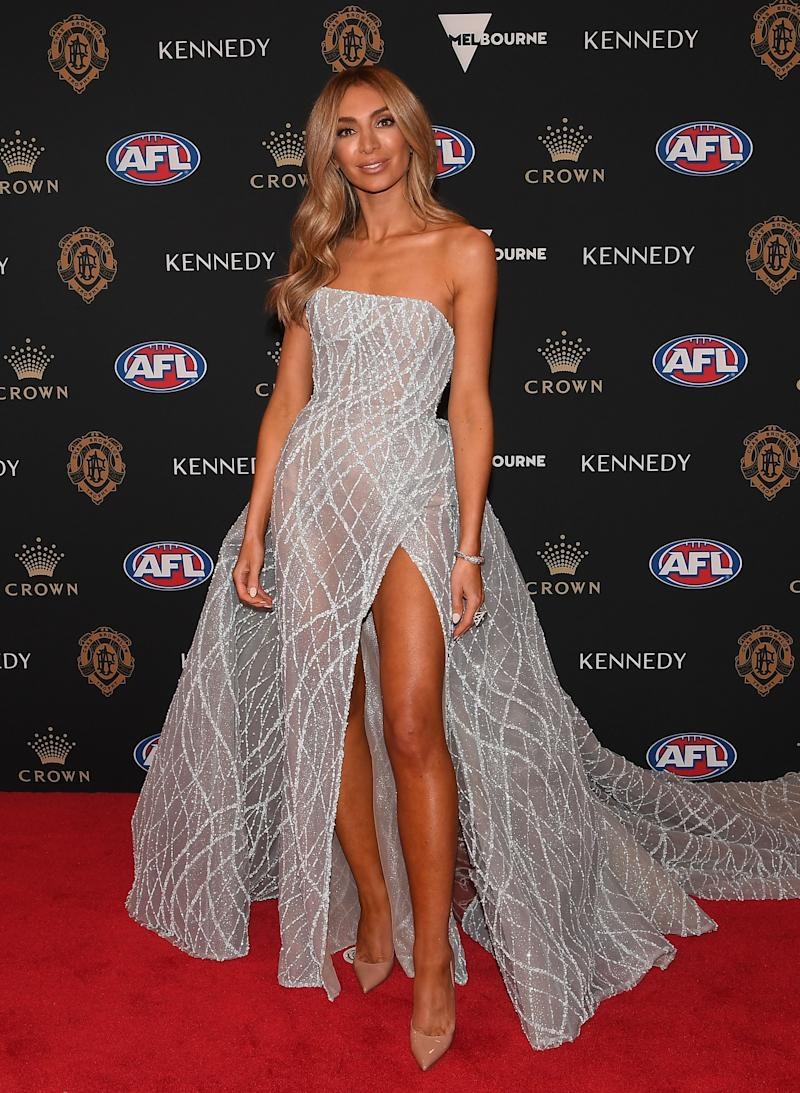 Nadia Bartel stunned in a solo red carpet appearance. Photo: AAP