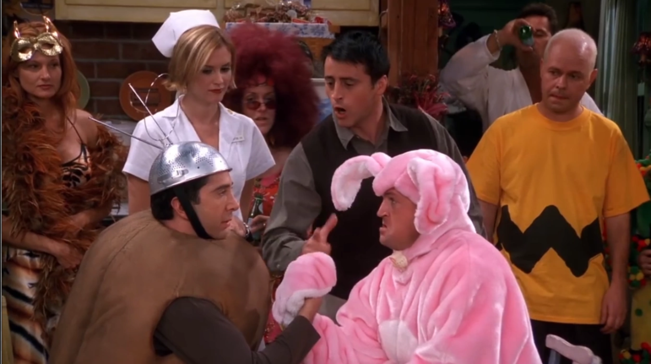 """<p>The aptly-named """"The One with the Halloween Party"""" arrived in the eighth season of <em>Friends</em>. Featuring Chandler as a pink bunny, Ross as """"Spud-nik,"""" Rachel's failures with trick-or-treaters, Phoebe's evil twin Ursula, and an arm-wrestling contest where there really are no winners, this episode serves as a classic reminder of how much we loved the Central Perk gang. </p><p><a class=""""body-btn-link"""" href=""""https://www.hbomax.com/fr/?gclsrc=aw.ds&gclid=Cj0KCQjwtZH7BRDzARIsAGjbK2bc-eUS9emvEt6P2htBVMd3kJ2GkrYmE7J0QG72BpDXiVOOcdq9XZkaAhBhEALw_wcB"""" target=""""_blank"""">Watch now</a></p>"""