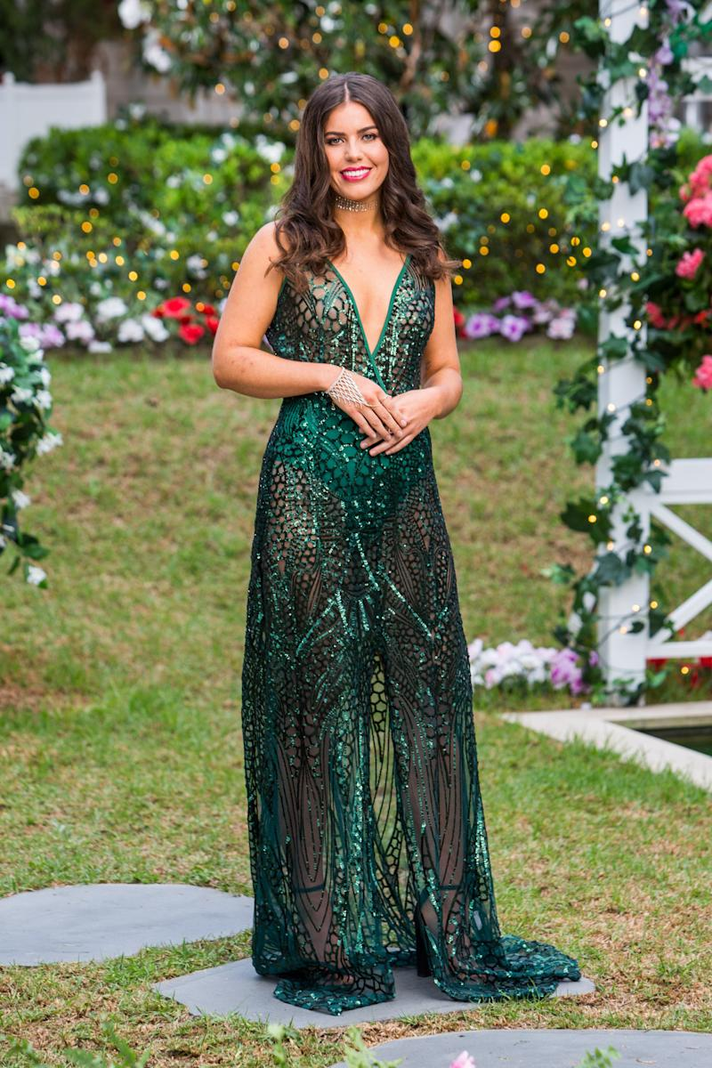 Keely Spedding wore an emerald green dress for The Bachelor premiere.
