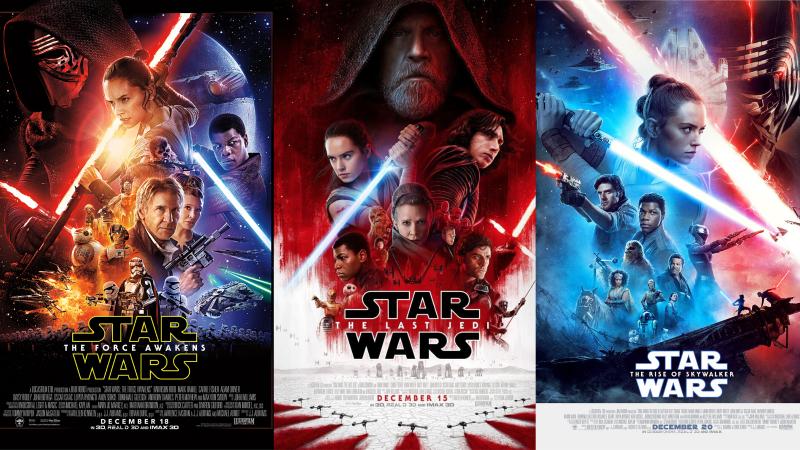 Star Wars Episodes VII to IX. Images via IMDB.