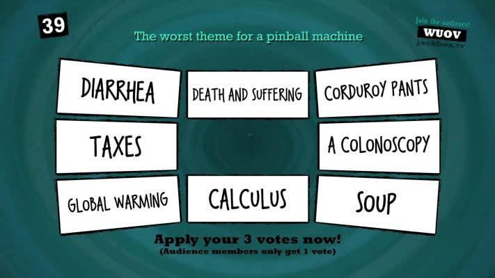 A screenshot of the Jackbox game Quiplash