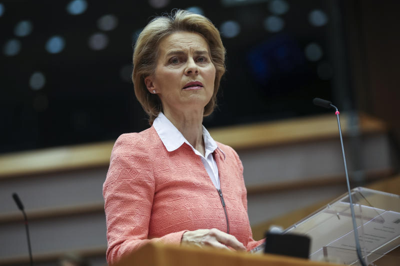 European Commission President Ursula von der Leyen speaks during a plenary session at the European Parliament in Brussels, Wednesday, June 17, 2020. Ursula von der Leyen gave a speech related to racism and the death of George Floyd at the hands of Minneapolis police officers. (AP Photo/Francisco Seco)