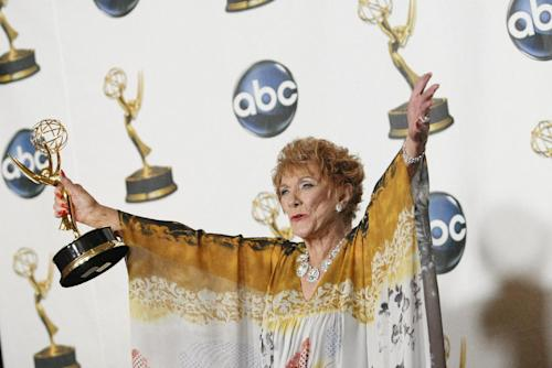 "FILE - In this June 8, 2008 file photo, Jeanne Cooper poses with her award for outstanding lead actress in a drama series for her work on ""The Young and the Restless"" at the 35th Annual Daytime Emmy Awards in Los Angeles. CBS says soap opera star Cooper has died. She was 84. Cooper played grande dame Katherine Chancellor on CBS' ""The Young and the Restless"" for nearly four decades. (AP Photo/Dan Steinberg, File)"