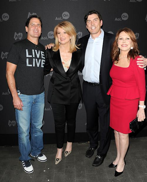 """Entrepreneur Mark Cuban, from left, Huffington Post president Arianna Huffington, AOL CEO Tim Armstrong and actress Marlo Thomas, right, attend AOL's web series """"NewFront"""" at Moynihan Station on Tuesday April 30, 2013 in New York. (Photo by Evan Agostini/Invision/AP)"""